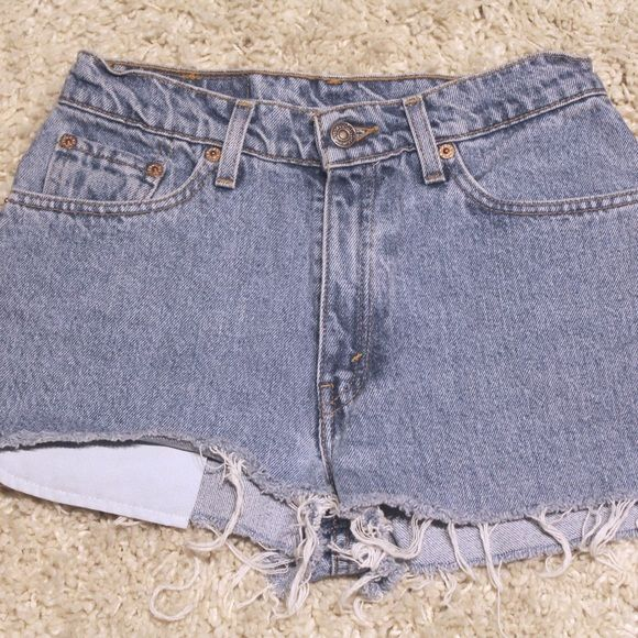 2504ebfa82 Levi's high waisted asymmetrical cut offs Levi's 512, slim fit denim shorts.  asymmetric cut. super short shorts, beware ~ Levi's Shorts Jean Shorts