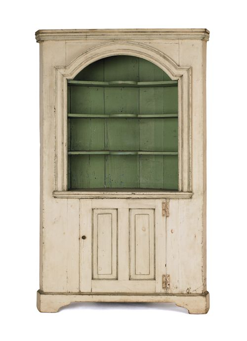 New England painted pine open corner cupboard, late 18th c., with ...