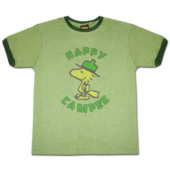 Peanuts Woodstock Happy Camper Green Ringer Graphic T-Shirt