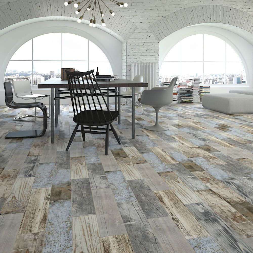 Reclaimed Rustic Blue Wood Effect Porcelain Wall Floor Tile 600x150x11mm  5 10Sqm