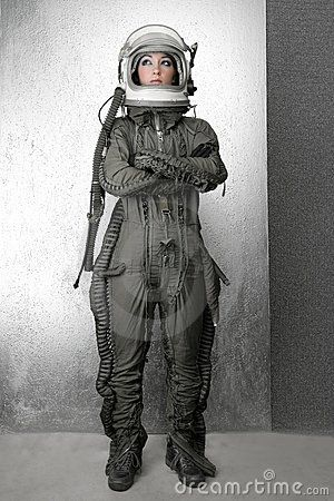 Astronaut fashion stand woman space suit helmet | clothing ...
