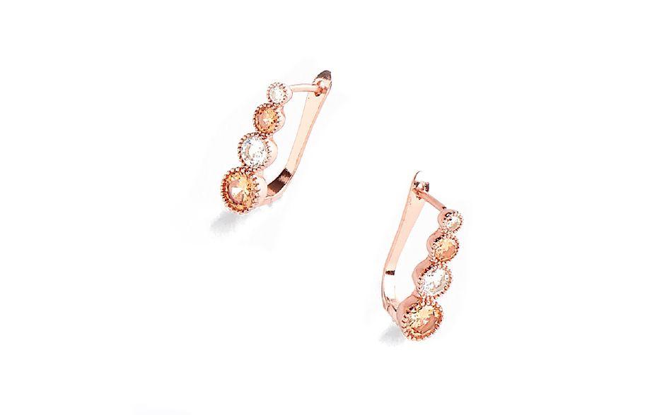 comprar baratas 9e089 60671 Aretes 118672 Aretes con poste, en baño de oro rosa con ...