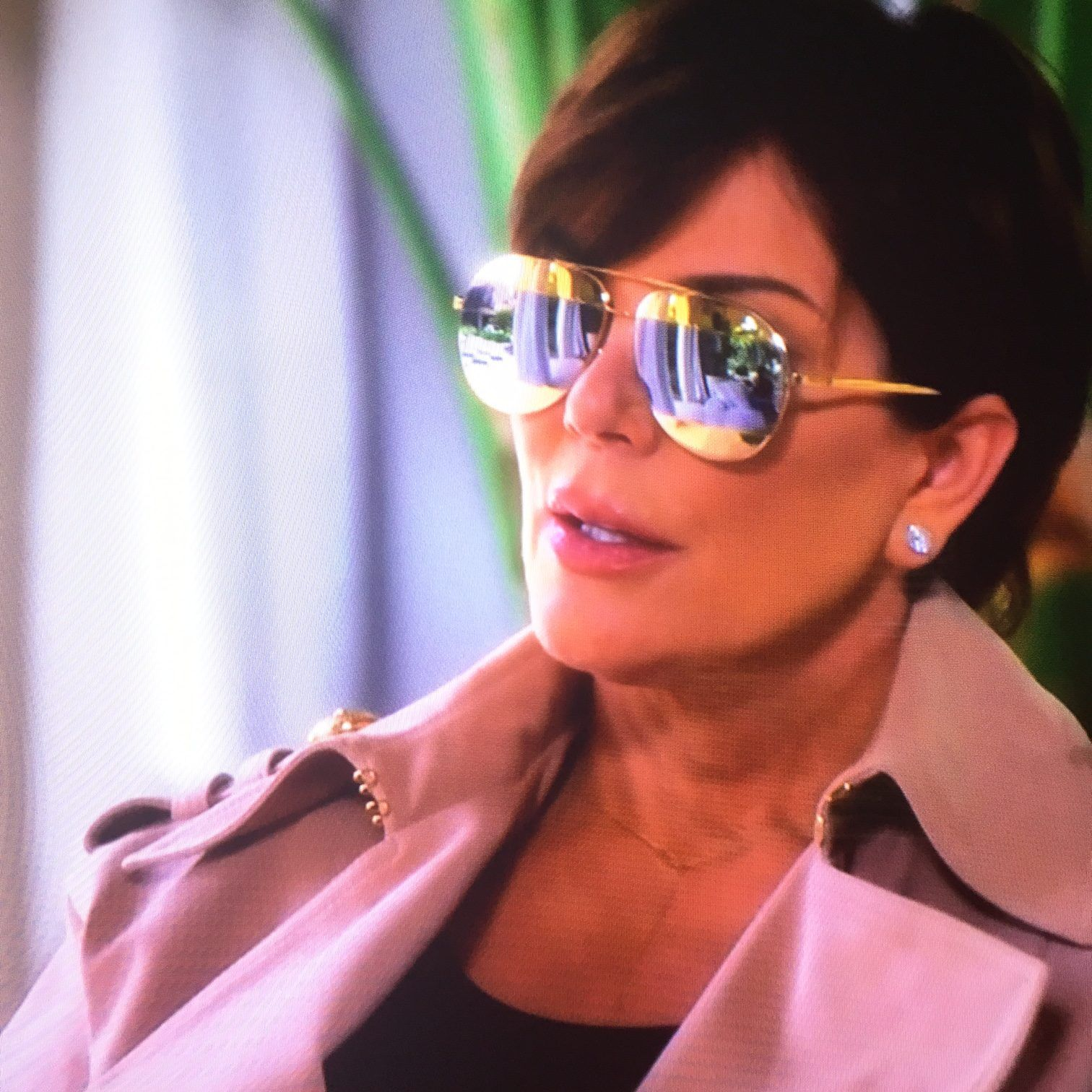1c4f504723 Kris Jenner s Gold Aviator Sunglasses with Silver Stripe