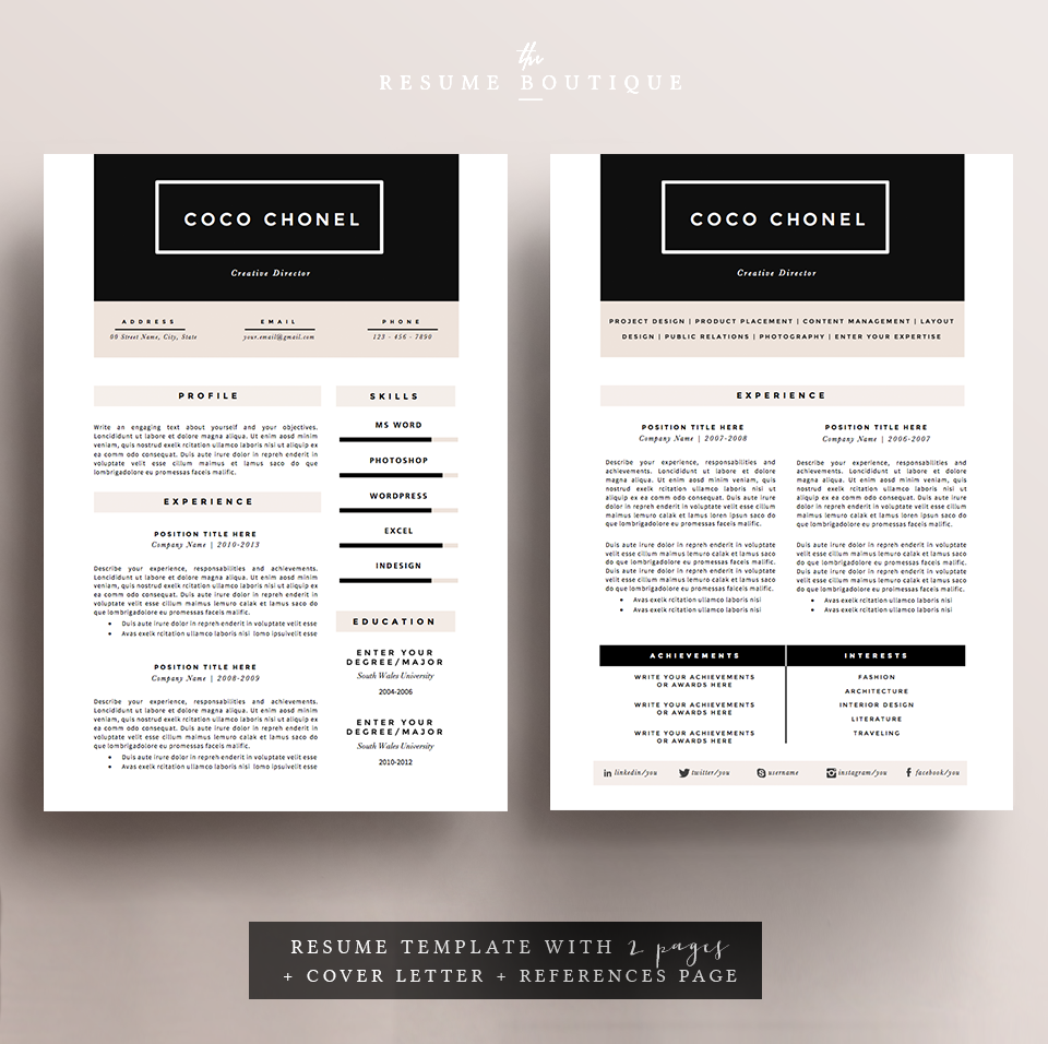 chic resume template in black and pale pink
