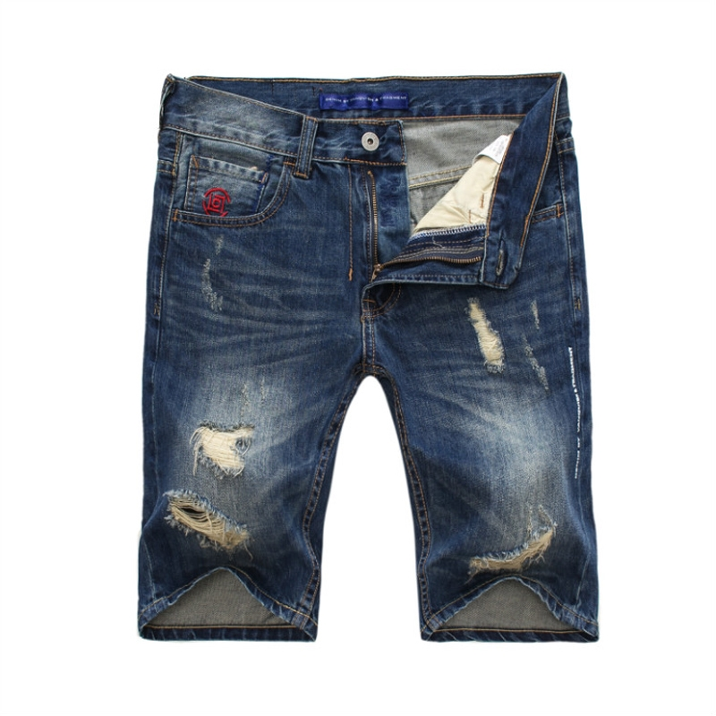 28.99$  Watch now - http://ai7xz.worlditems.win/all/product.php?id=32800031923 - Blue Color Denim Short Jeans Men Embroidery Pocket Fashion Jeans Shorts Men Summer Style Destroyed Ripped Jeans Men Shorts