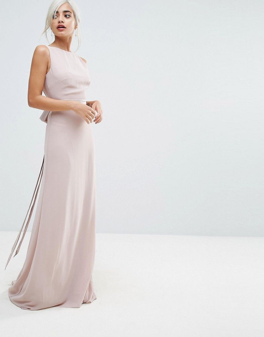 TFNC Petite WEDDING Sateen Bow Back Maxi Dress - Pink | Bow back ...