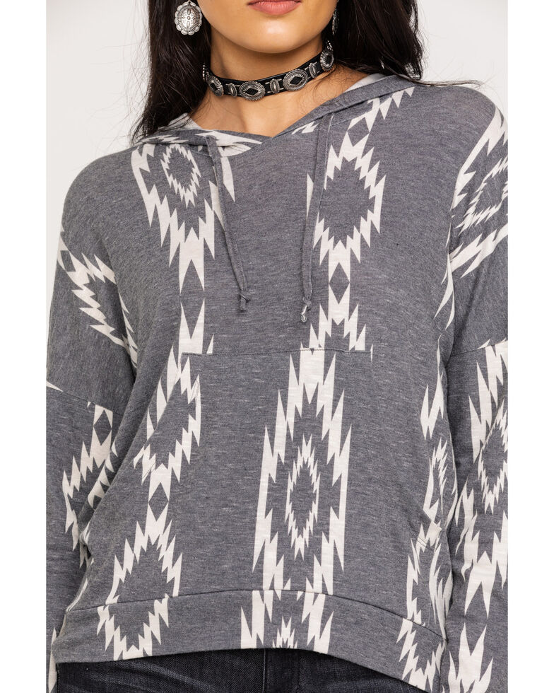 Rock & Roll Cowgirl Women's Charcoal Aztec Print Pullover Hoodie #aztec