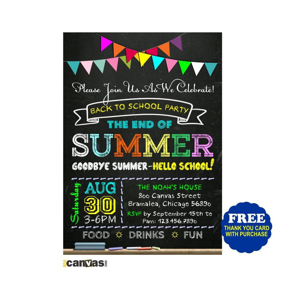 Back to School Party Invitation / End of Summer / Chalkboard Party ...