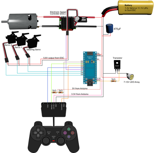 Circuit Diagram Of The Ps2 Controller Demonstration Rig Arduino Projects Arduino Computer Projects