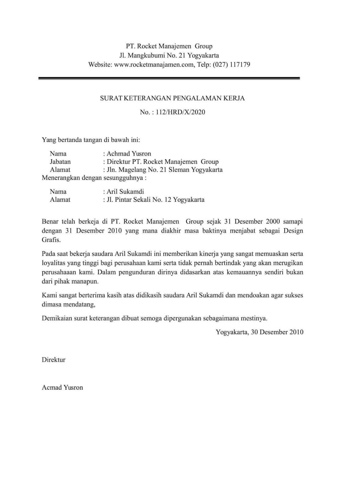 8 Contoh Surat Keterangan Kerja Terlengkap Untuk Berbagai Keperluan Surat Kerja Kepala Sekolah