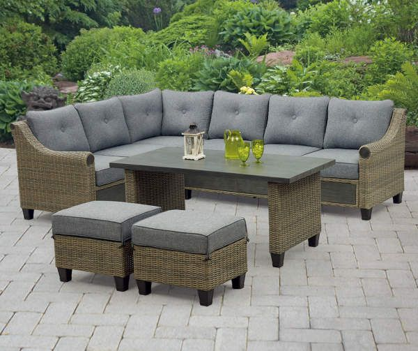 Broyhill Patio 5 Piece Cushioned Sectional All Weather Wicker Set Big Lots In 2020 Patio Seating Sets Small Patio Furniture Patio Seating