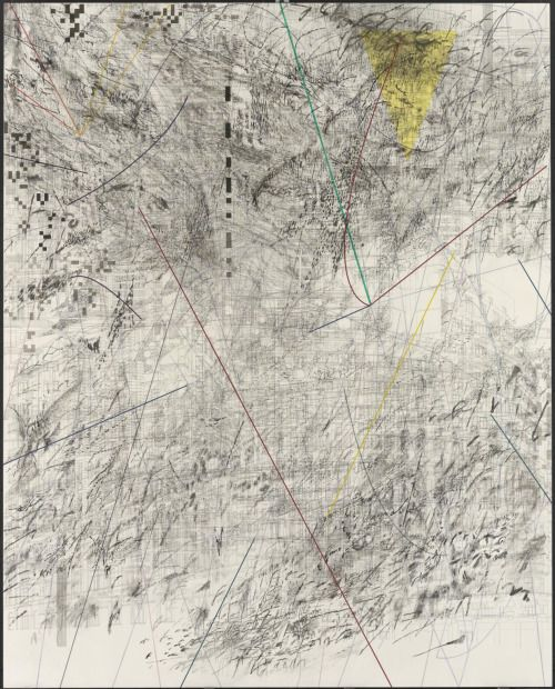 Julie Mehretu (Ethiopian, b. 1977), Mogamma, A Painting in Four Parts: Part 3, 2012. Ink and acrylic on canvas, 457.2 x 365.8 cm.