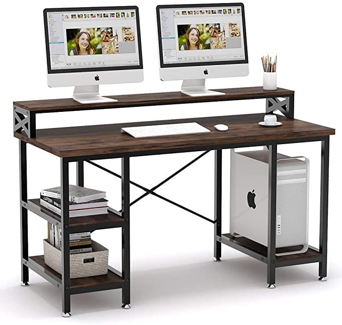 Amazon Com Tribesigns Computer Desk With Storage Shelves 55 Inch Large Industrial Office Desk Co In 2020 Home Office Computer Desk Modern Office Desk Computer Table