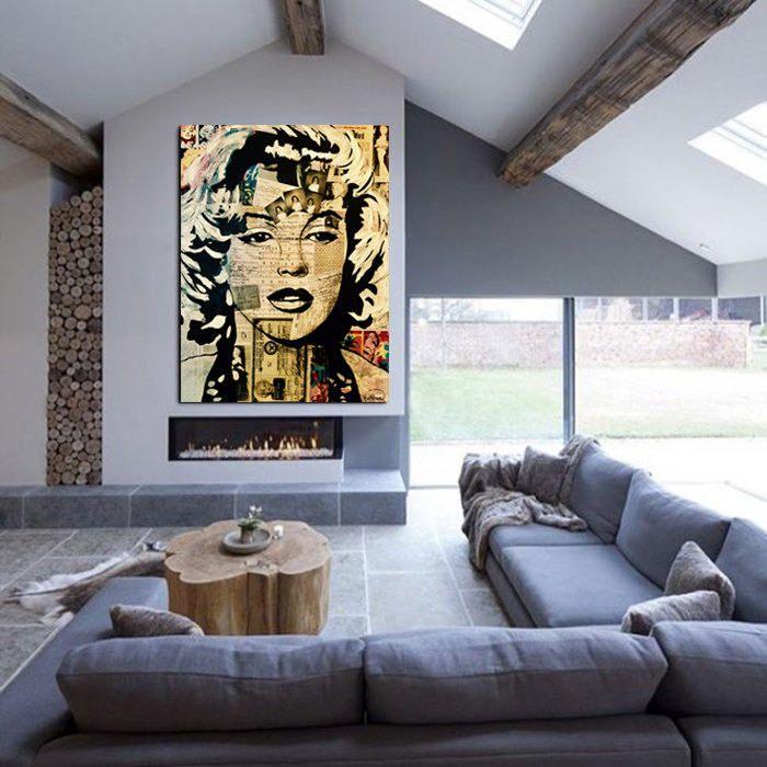 ORIGINAL Painting Marilyn Monroe Wall Art Marilyn Monroe Art Decor Portrait Wall  Art Canvas Mixed Media