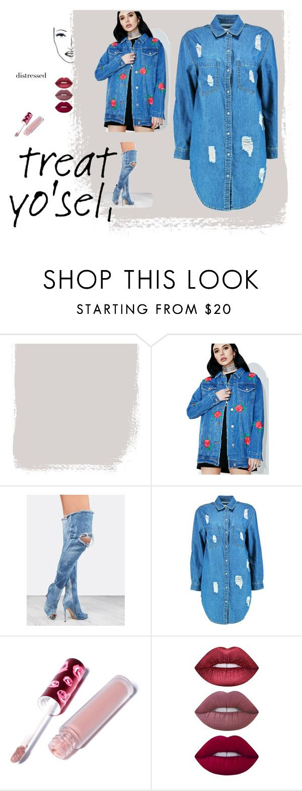 """""""Denim lover"""" by nikki-rene ❤ liked on Polyvore featuring Signature 8, Boohoo, Lime Crime and Black Magic Lashes"""