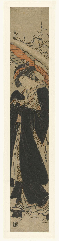 Isoda Kôryûsai | Vrouw in de sneeuw, Isoda Kôryûsai, Nishimura Yohachi, 1770 - 1780 | Vrouw in zwarte jas en besneeuwde paraplu over rechter schouder; besneeuwde bloesemtakken op de achtergrond.