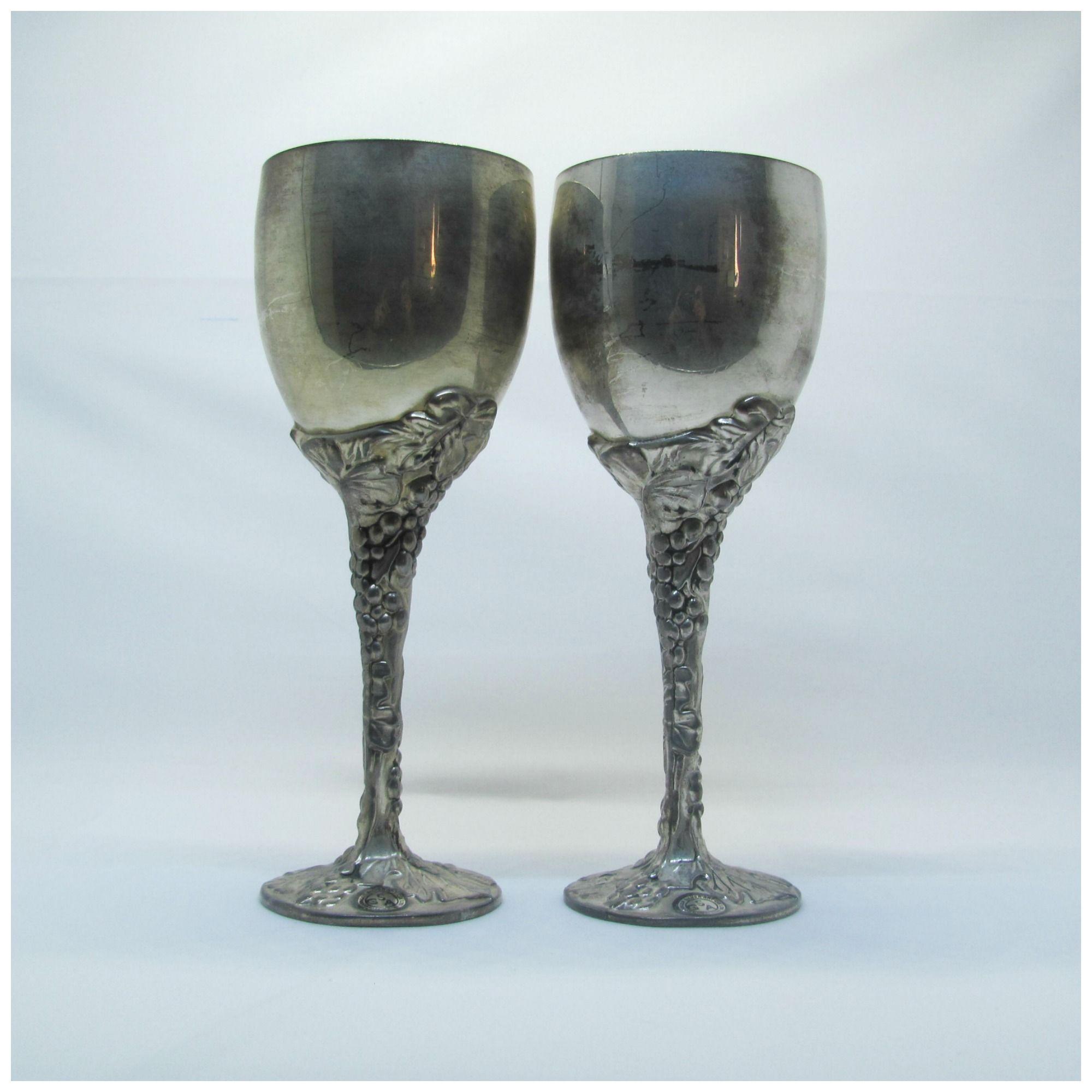 delightful Godinger Silver Art Co. Ltd Part - 14: Vintage Godinger Silver Art Co.LTD Silver Plated Wine Goblets