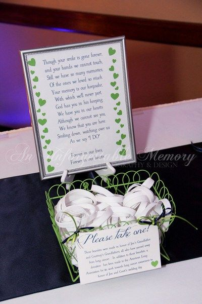 Memorial Table Wedding Ideas We Also Included A Little Poem And Placed The Favors