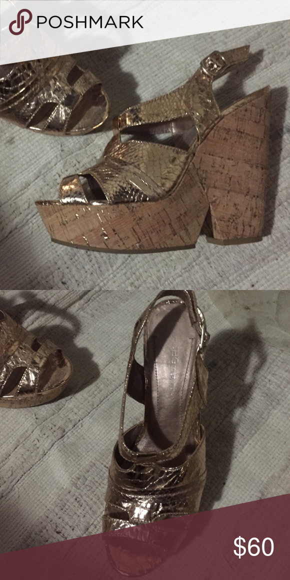b79ce30967c Bcbgeneration gold cork platform chunky wedges 7.5 Beautiful Edelle Bcbgeneration  gold cork wedge block heels sandals