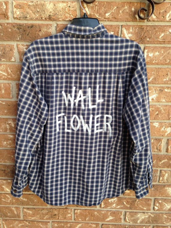 Plaid flannel Wall Flower hand painted shirt // by Cranberrymoons