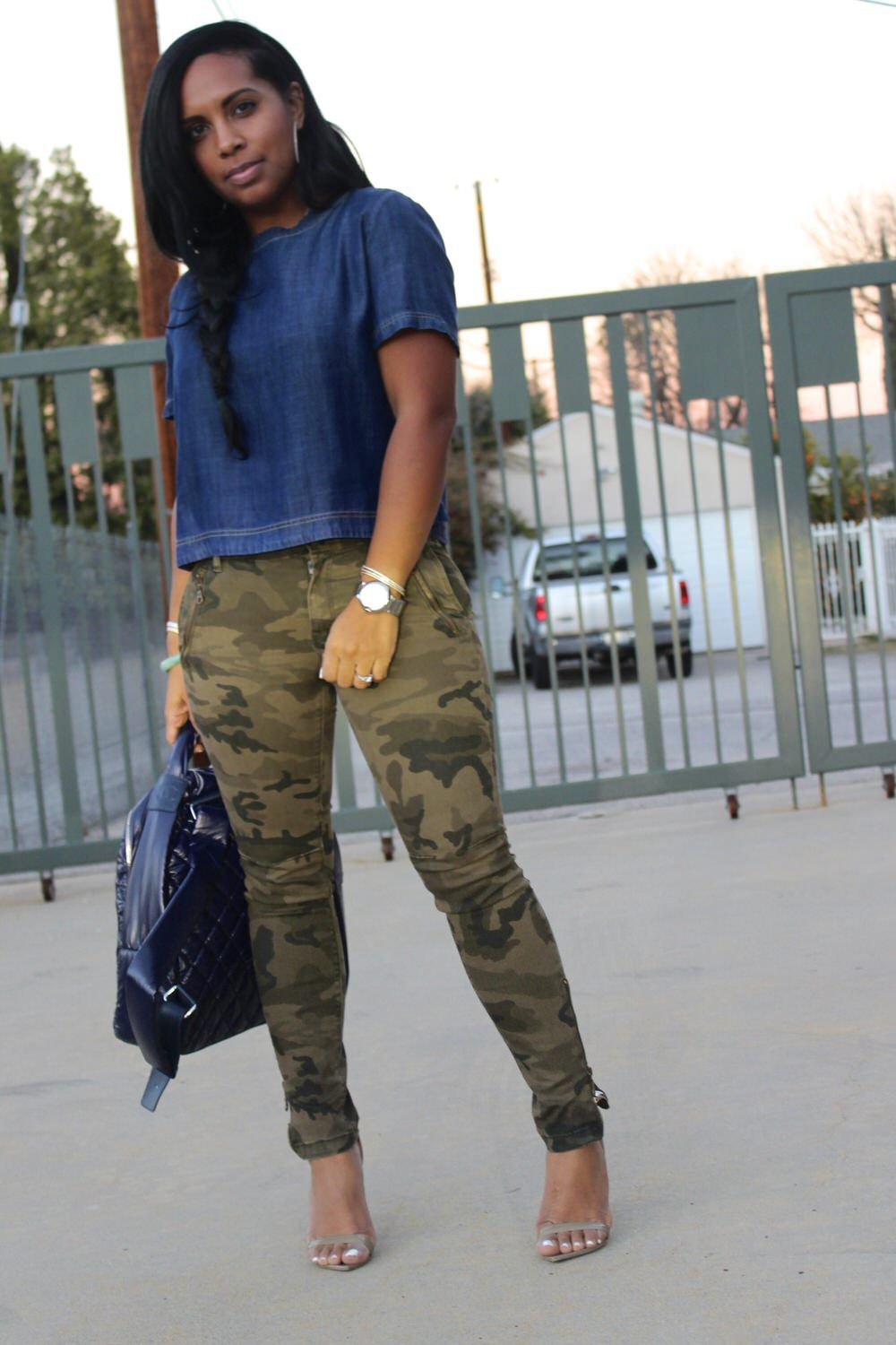 denim top with camouflage pants | major must haves | my street