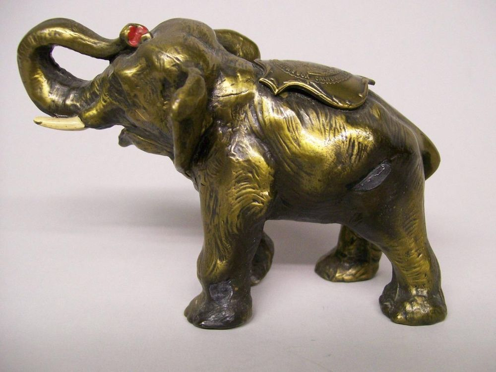 "Vintage 3"" Metal Elephant Souvenir of Yosemite National Park Trunk Up"