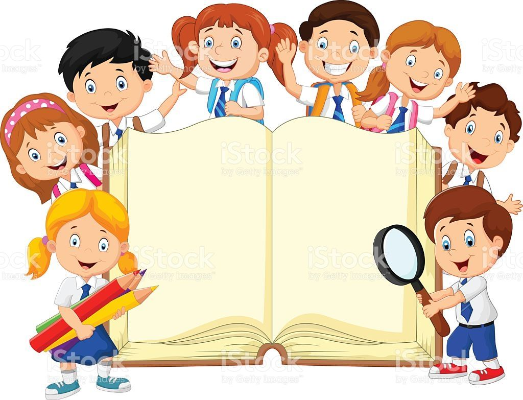 Vector Illustration Of Cartoon School Children With Book