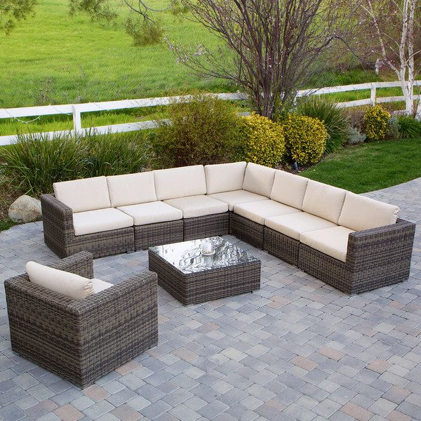 Christopher Knight Home Santa Rosa 9 Piece Outdoor Sofa Sectional Set    Overstock™ Shopping