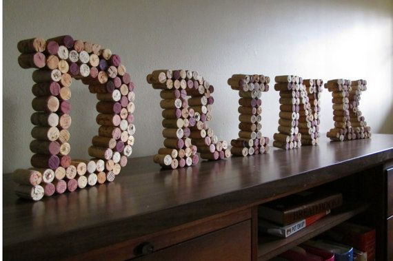3D wine cork letters spelling \