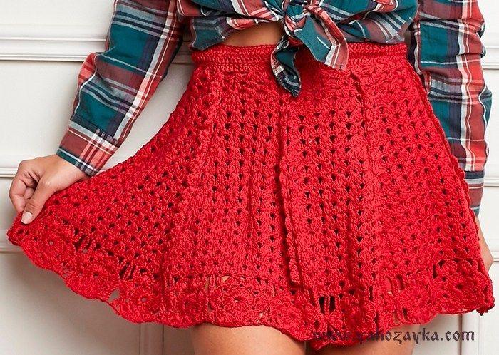 Схемы вязанные летние юбки