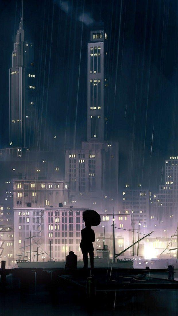 Rain Buildings Iphone 5 Wallpaper Oboi Anime Nyu Jork