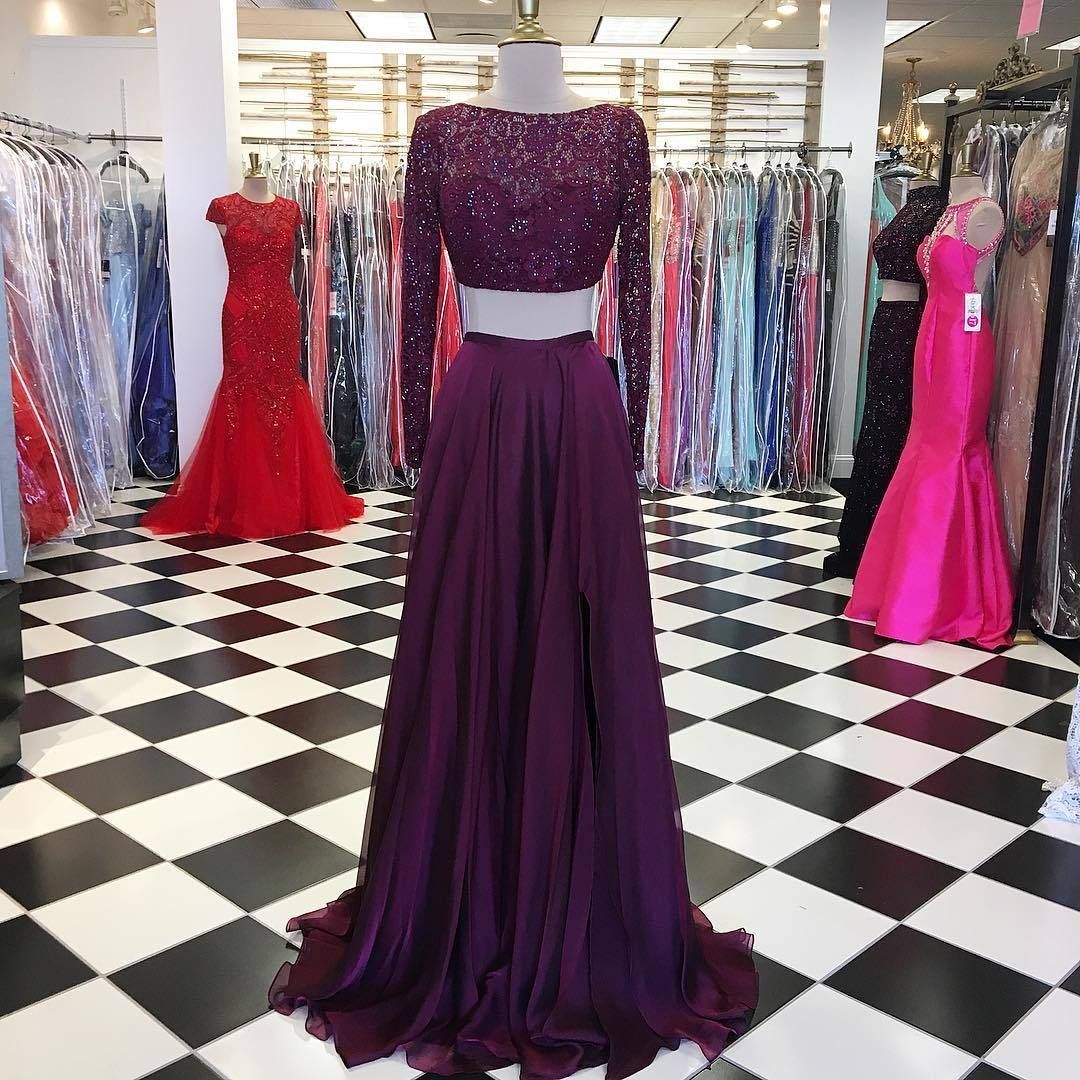 Two piece long sleeves prom dress burgundy long prom dress
