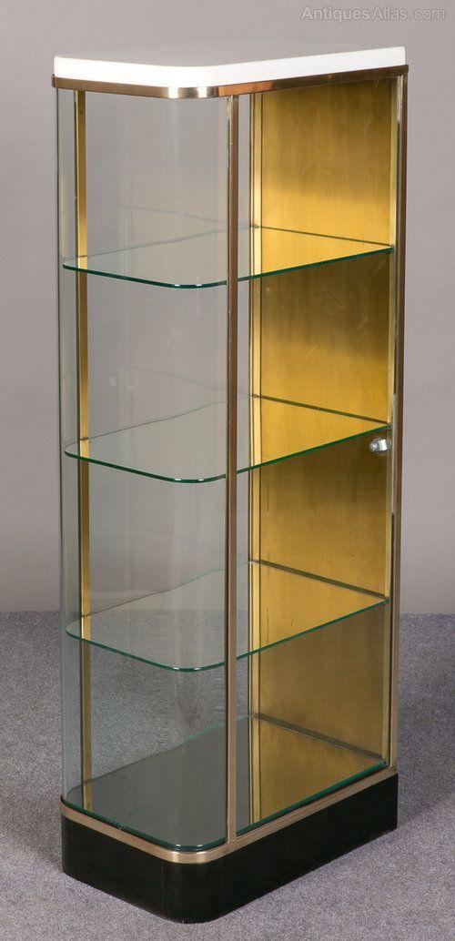 Merveilleux Unusual Art Deco Display Cabinet. Glass. English. C1920