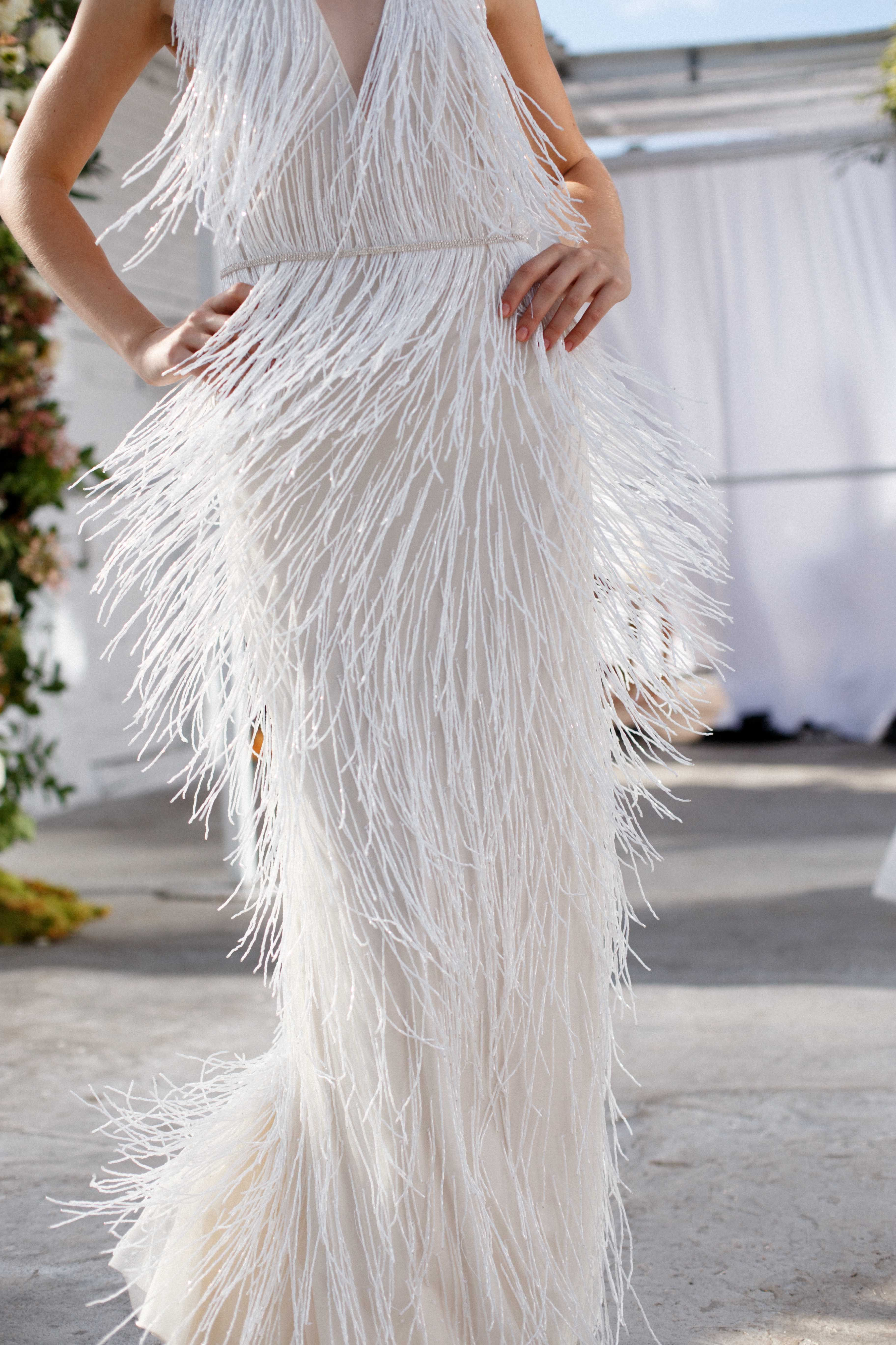 Jenny Yoo Collection The Etra Bridal Gown Features Delicate Beaded Fringe That Creates Sparklin Cocktail Dress Wedding Fringe Wedding Dress Glam Wedding Dress [ 5472 x 3648 Pixel ]