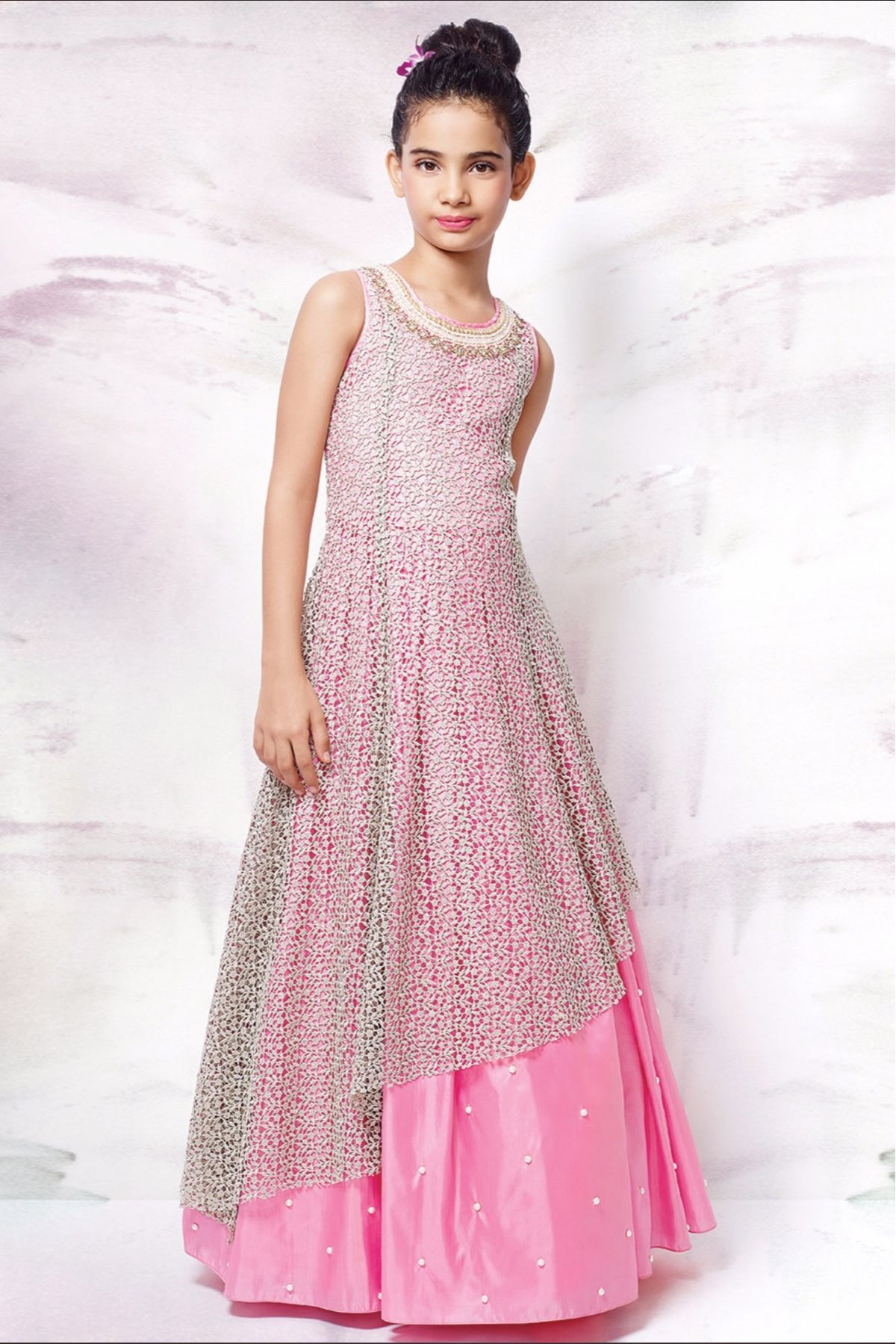 547f5796952f Dress up your little diva in a plush Net Pink colour of the Gown looks  charming and pretty. This Gown will make your dear little angel look  adorable for any ...