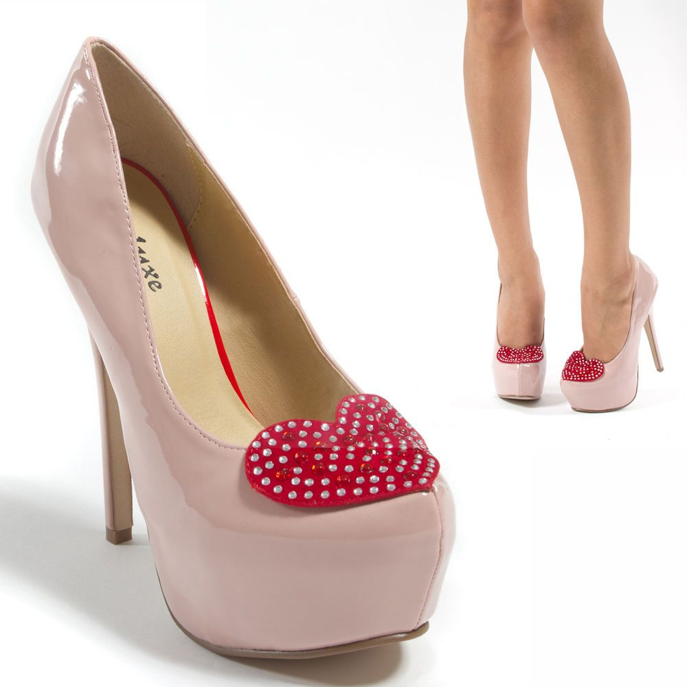 Lady Pink Patent Leather Red Heart Valentine Platform High Heel Pump Shoe US10