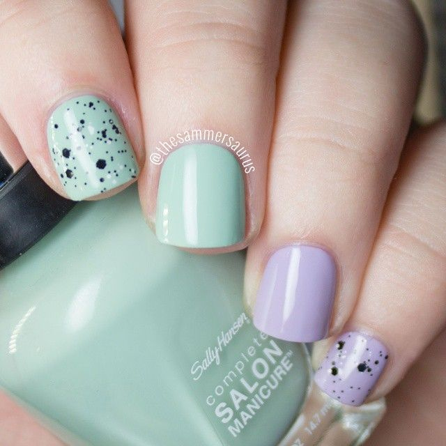 Pastel Mint and Lilac Nails With Black and White Glitter | nails ...