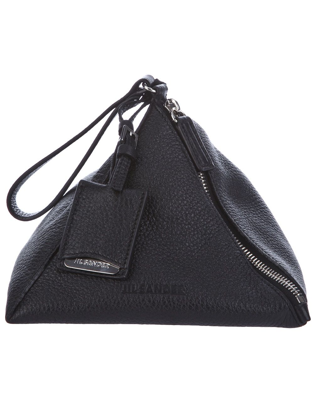 JIL SANDER, LEATHER PYRAMID CLUTCH: weirdly, i daydream of filling this with hershey's kisses.