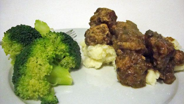 turkey meatballs with mushroom sauce on mashed potatoes