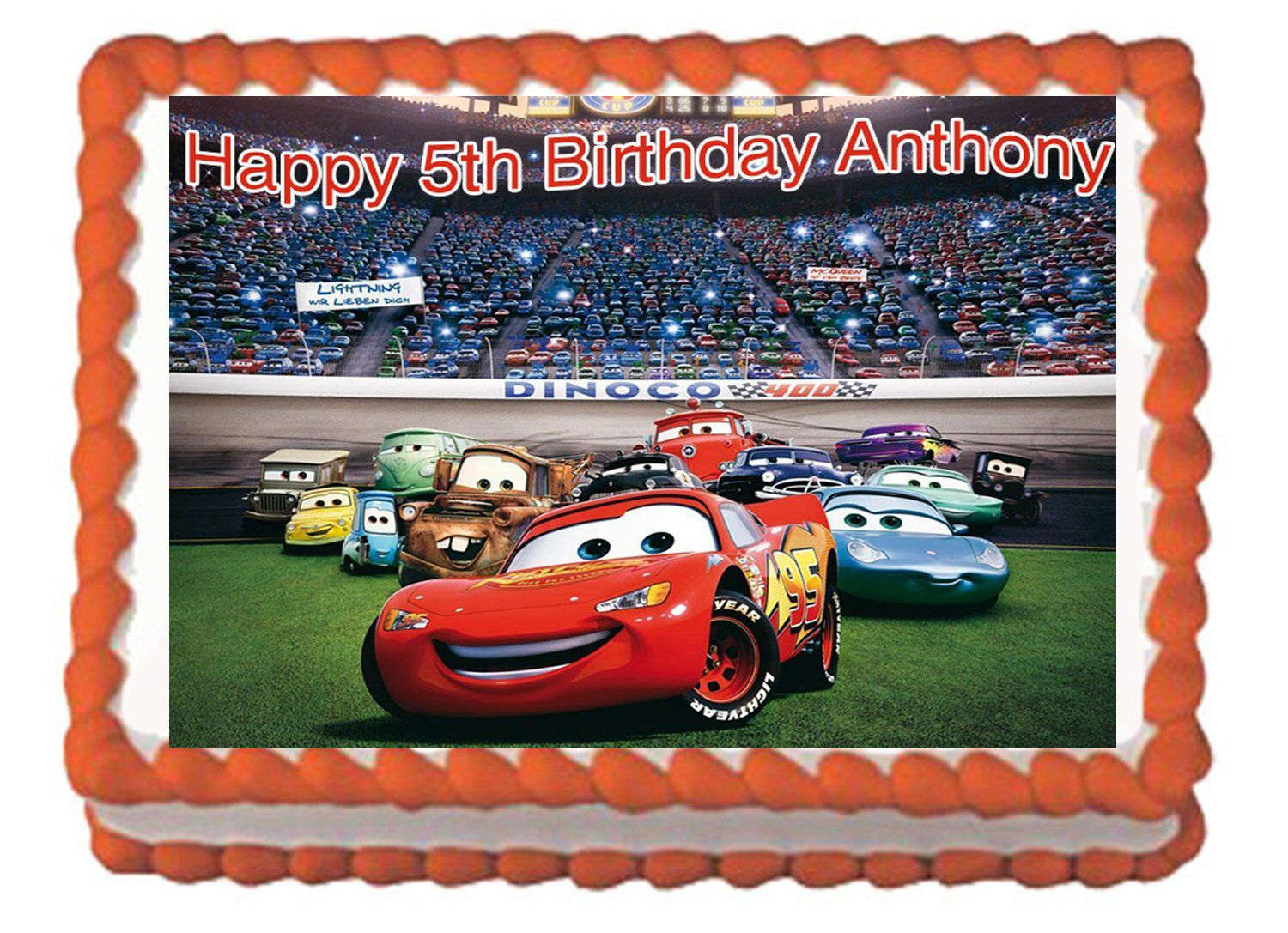 Cars birthday cake lightning mcqueen cake topper with free