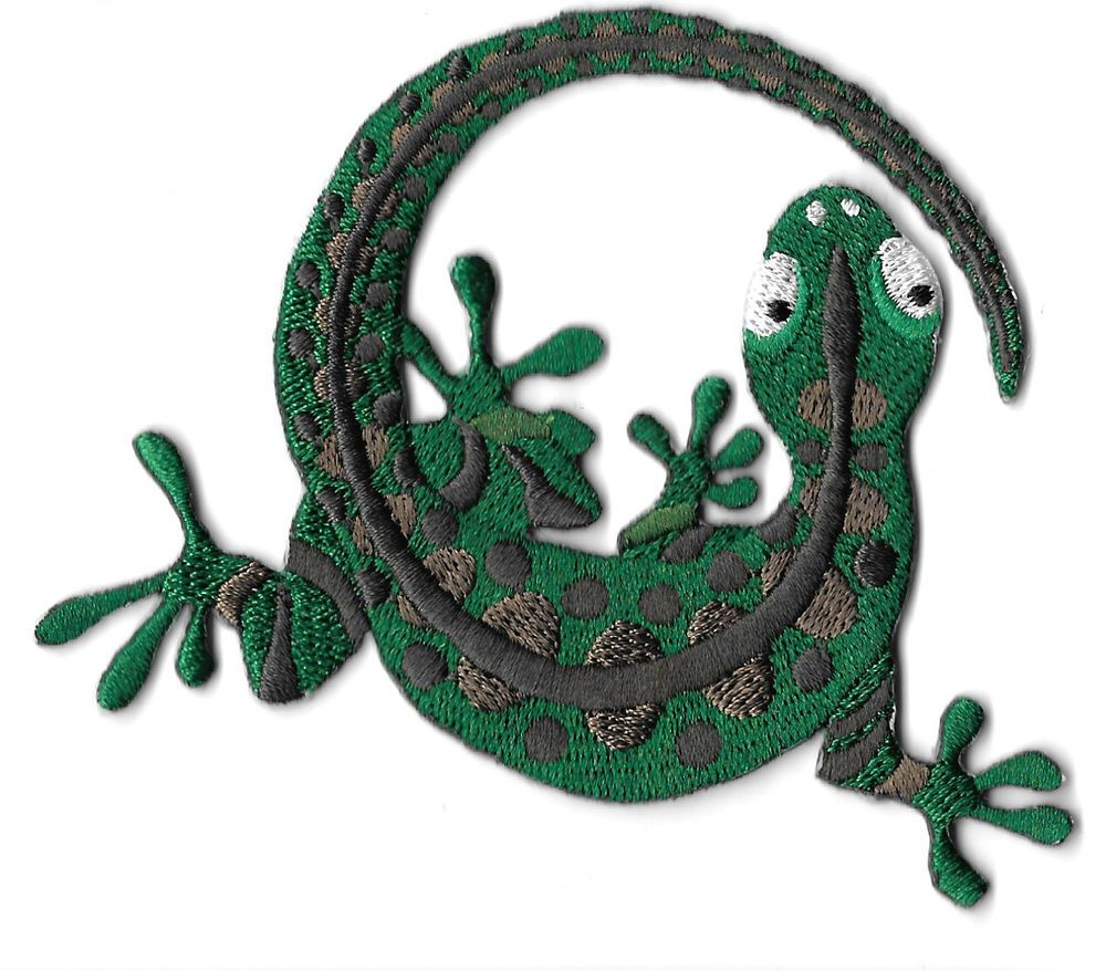 Embroidered Iron On Applique Patch Gecko Green /& Brown Southwest Lizard