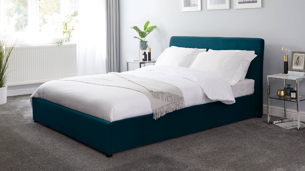 Turin Peacock Velvet King Size Bed With Storage In 2020 King