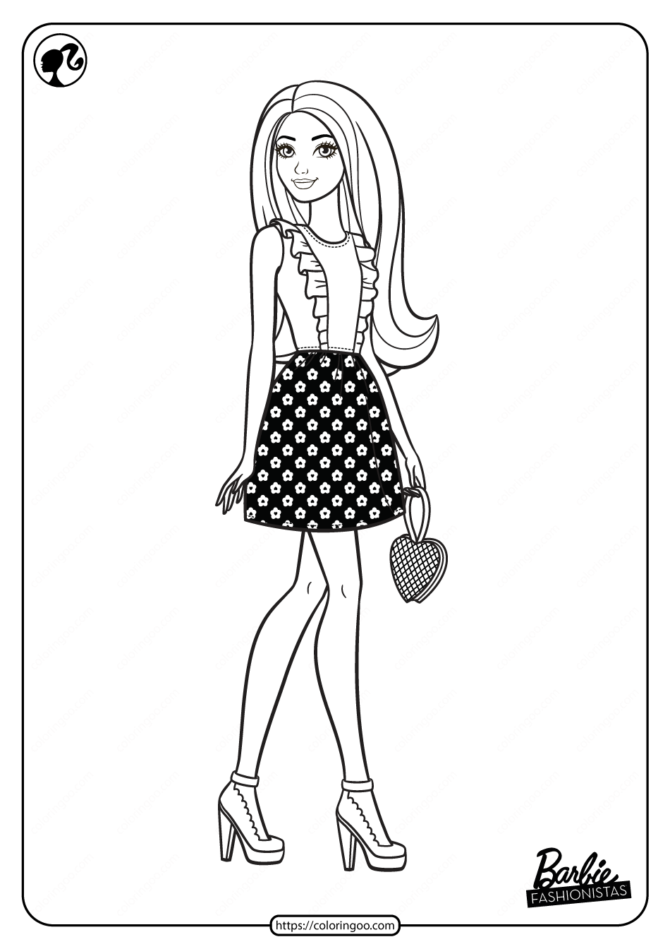 Printable Barbie Fashionistas Pdf Coloring Pages 02 In 2021 Coloring Pages Barbie Coloring Barbie