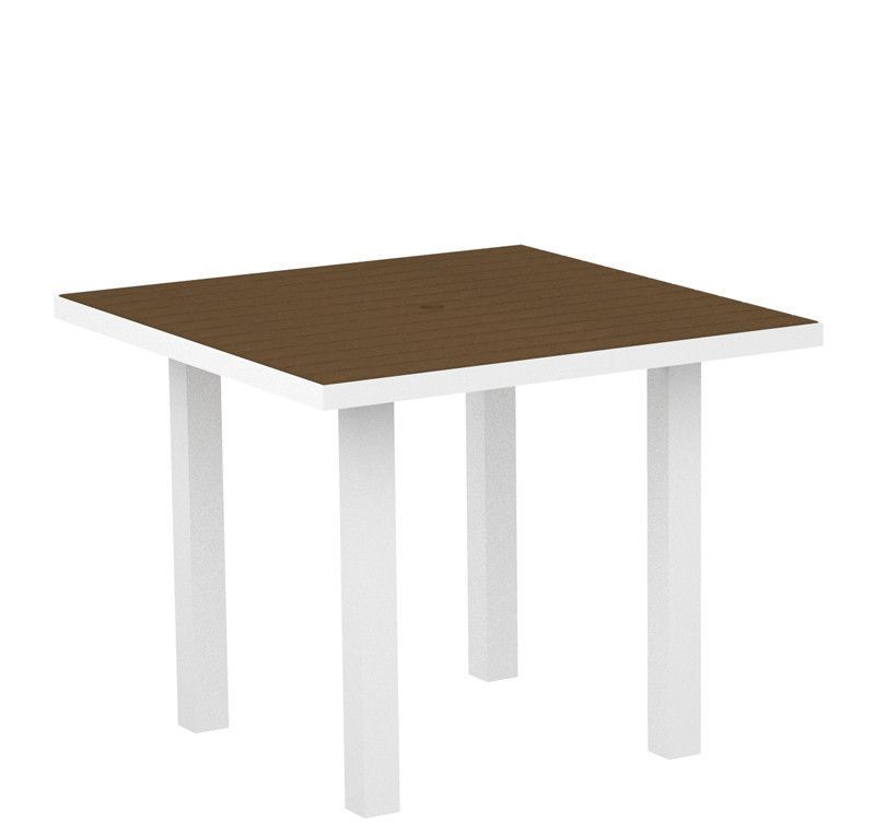 """Polywood AT36-13TE Euro 36"""" Square Dining Table in Textured White Aluminum Frame / Teak"""