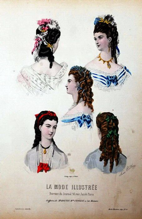 "Hairstyles illustration from ""La Mode Illustrée"", 1860"