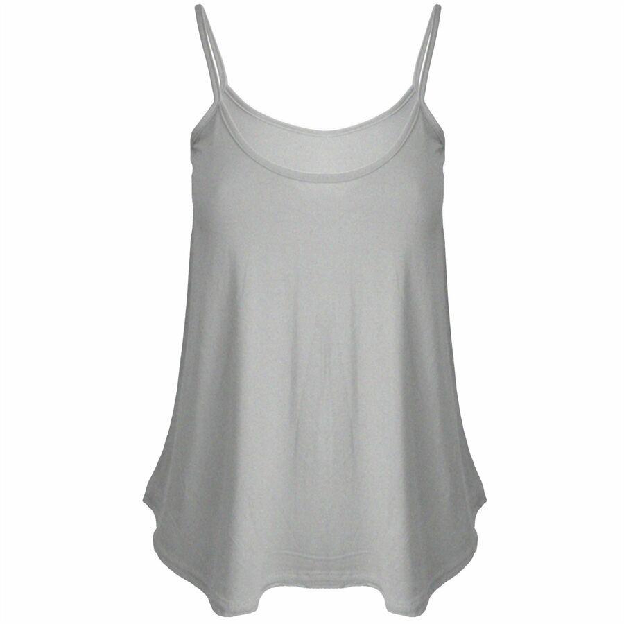 Ladies Womens Plain Swing Cami Strappy Flared Vest Sleeveless Top Plus Size
