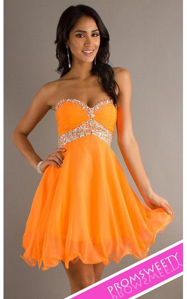 Short Strapless Sweet Sixteen Chiffon Babydoll Neon Orange Prom
