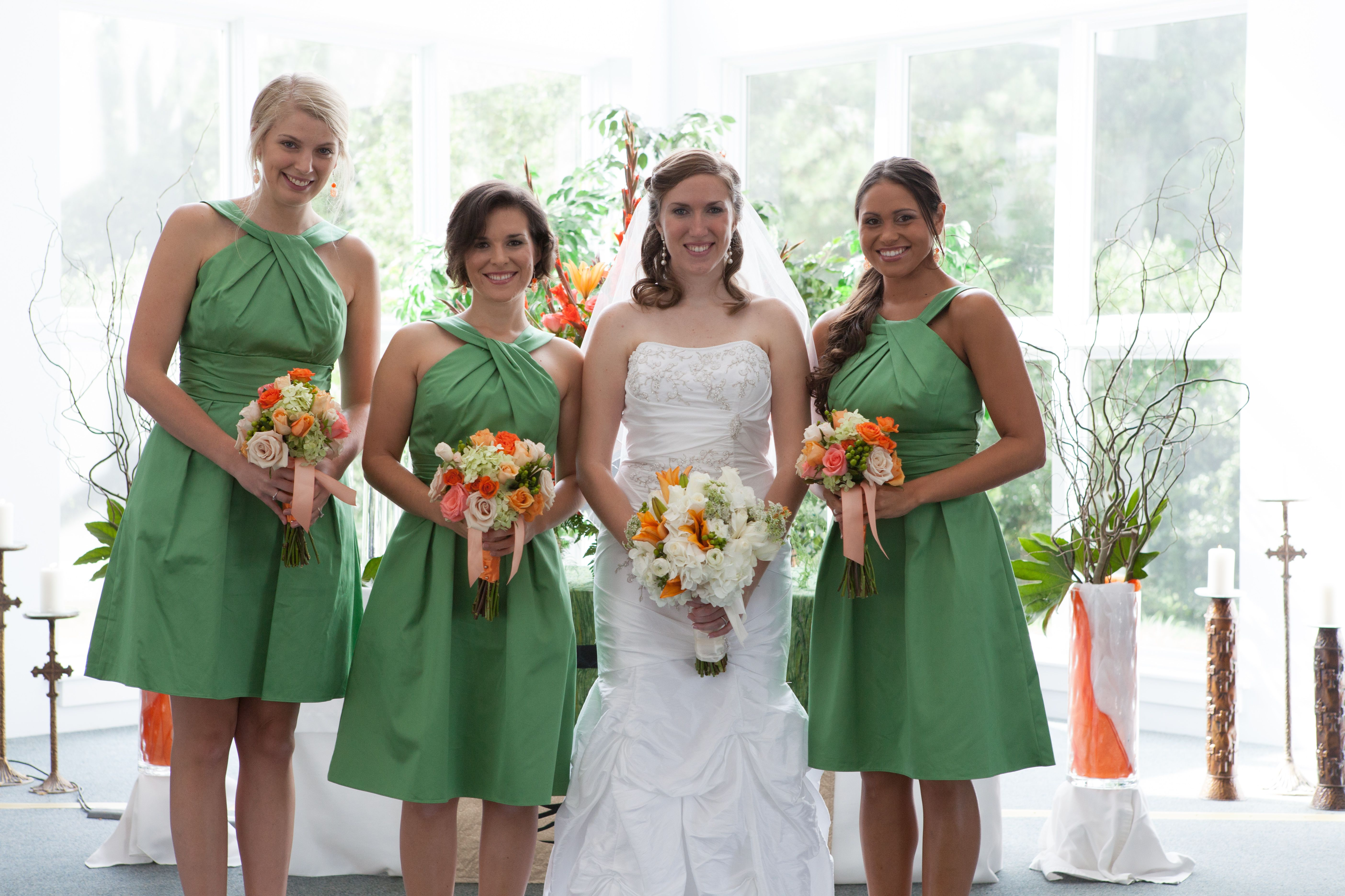 Green bridesmaids dresses and orange and coral rose bouquets mews green bridesmaids dresses and orange and coral rose bouquets mews designs wedding florals ombrellifo Images