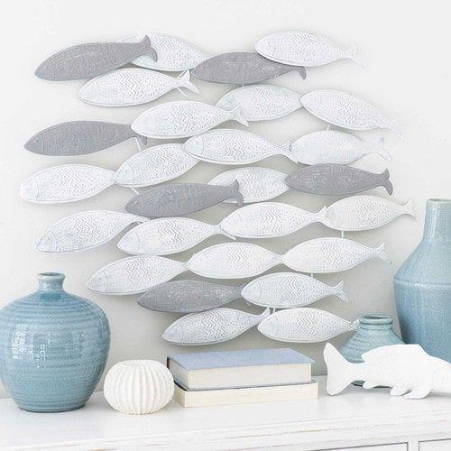 Wanddekoration Fischschwarm Aus Metall