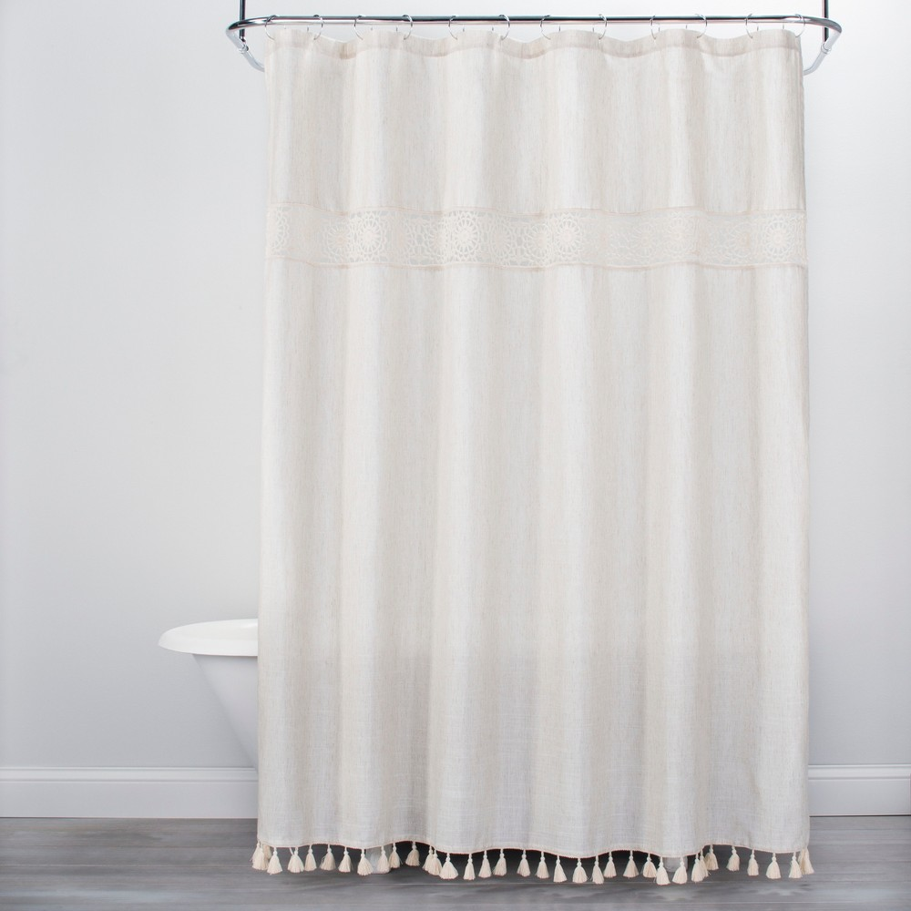 Solid Crochet With Tassels Shower Curtain Tan Opalhouse White